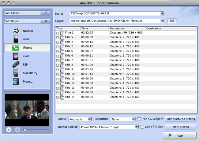 Any DVD Cloner Platinum for Mac DVD ripping window