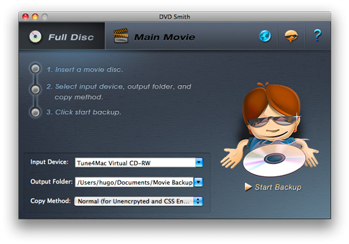 Main window of DVDSmith Movie Backup for Mac